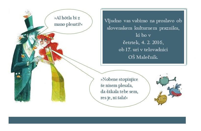 Vabilo – proslava ob slovenskem kulturnem prazniku