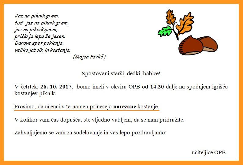 VABILO na KOSTANJEV PIKNIK (četrtek, 26. 10. 2017)
